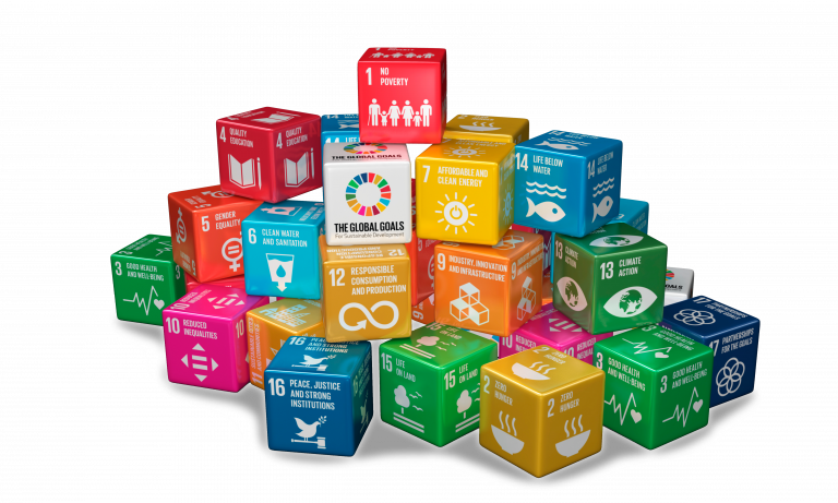 3D illustration of the Sustainable Development Goals by the UN